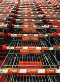 Rimi hyper market. Shopping trolley Royalty Free Stock Images