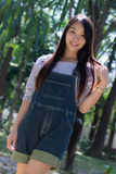 Rimight Portrait Beautiful asian woman  in Park Royalty Free Stock Photo