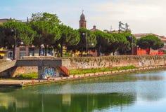 Rimini - άποψη στην παλαιά πόλη από το κανάλι Στοκ εικόνες με δικαίωμα ελεύθερης χρήσης