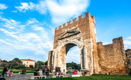 Rimini Ancient Arch of Augustus. Rimini, Italy - september 23, 2012: Ancient Arco D'Augusto (arch of Augustus). This is northern Italy's oldest surviving Royalty Free Stock Image