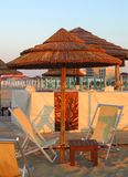 Rimini - Bamboo beach umbrella Stock Photos