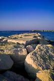 Rimini Italy. View of rocks and the Adriatic Sea, Rimini, Italy Stock Photo