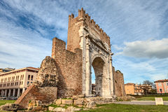 Rimini, Italy - the Arch of Augustus. Arch of Augustus  in Rimini, Italy - ancient romanesque gate of the city - historical italian landmark, the most ancient Royalty Free Stock Photography
