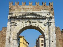Rimini, Italy - Arch of Augustus, ancient romanesque gate of the. City - historical italian landmark Stock Photo