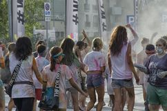 Participants of The Color run crossing the finish line Stock Image