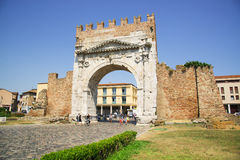 Rimini, Italy - June 21, 2017: the triumphal arch of Augustus in. The central part of Rimini, a resort town in Italy Royalty Free Stock Photos