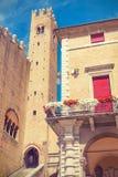 Rimini-Italy. Old houses with balconies in Rimini-Italy Stock Photo