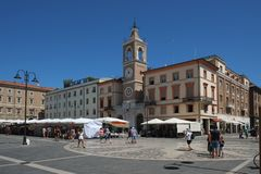 Central city square with city market in the center of Rimini, Italy royalty free stock photography