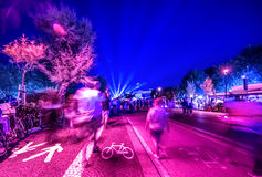 Rimini night street view seafront. Vibrant colors Royalty Free Stock Photo