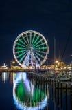 RIMINI night view of ferris wheel from dock. RIMINI, night view of ferris wheel from touristic dock stock image
