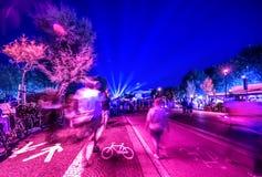 Rimini nocy widoku uliczny nadbrzeże kolor wibrującego Zdjęcie Royalty Free