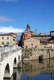 Rimini old town and Tiberius bridge Stock Images