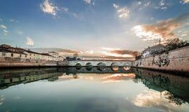 Rimini sunset on Tiberius bridge. Twilight. Rimini sunset on ancient romain Tiberius bridge stock photo
