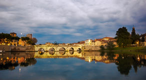 Rimini twilight on view of tiberius bridge. Sunset Royalty Free Stock Photos