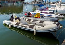 Rimini - Vastgelegde reddingsboten Stock Afbeelding