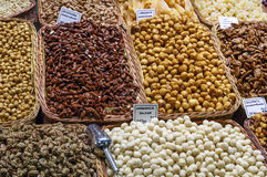 Rimmad karamell och muttrar, macadamiamuttrar, mandlar Royaltyfri Bild