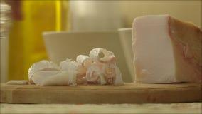 Rimmat griskött feta Salo och skottexponeringsglas med vodka stock video