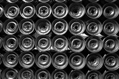 Rimmed wall. A modern day piece of art, a wall constructed of iron rims Stock Images