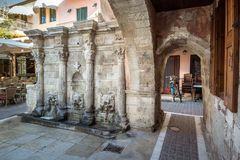 The Rimondi Fountain in the centre of the old town of Rethymnon, Crete. Royalty Free Stock Images