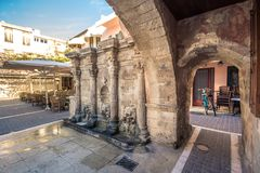 The Rimondi Fountain in the centre of the old town of Rethymnon, Crete. Stock Image