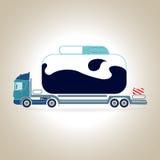 Rimorchi dell'autocisterna Trasportatore dell'olio Illustrazione di vettore Fotografie Stock