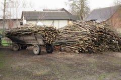 Rimorchio del carretto antiquato tagliato degli agricoltori della legna da ardere a Poland& x27; vita rurale della campagna di s Immagini Stock Libere da Diritti