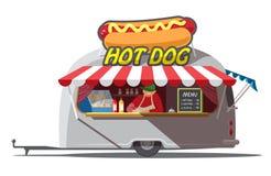 Rimorchio del hot dog Alimenti a rapida preparazione Illustrazione di vettore Immagini Stock Libere da Diritti