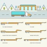 Rimorchio del trasporto e tipi Infographics dei camion Fotografia Stock Libera da Diritti