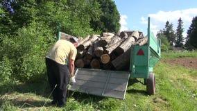 Rimorchio di legno del ceppo del carico dell'uomo archivi video
