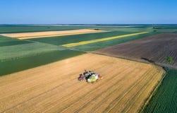 Rimorchio di versamento del grano del grano dell'associazione durante il raccolto Immagini Stock Libere da Diritti