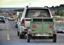 Rimorchio per il trasporto degli animali Fotografia Stock