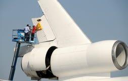 Rimozione del timone dell'aeroplano Fotografia Stock