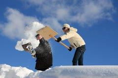Rimozione di neve manuale Fotografia Stock Libera da Diritti