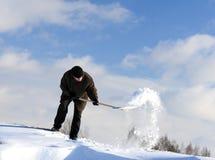 Rimozione di neve manuale Fotografia Stock