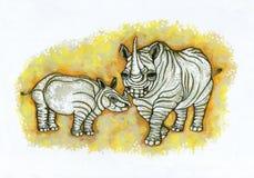 Rimpelige Rinocerossen Royalty-vrije Stock Afbeelding