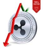 rimpeling Daling Rode pijl neer De classificatie van de rimpelingsindex daalt op uitwisselingsmarkt Crypto munt 3D isometrisch Fy Royalty-vrije Stock Fotografie