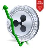 rimpeling De groei Groene pijl omhoog De classificatie van de rimpelingsindex gaat op uitwisselingsmarkt uit Crypto munt 3D isome Royalty-vrije Stock Afbeelding