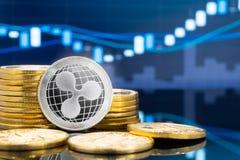 Rimpeling en cryptocurrency die concept investeren vector illustratie