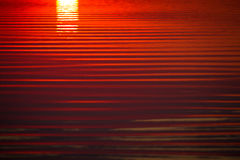 Rimpelingen op het water bij zonsondergang stock foto