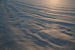 Rimpelingen op het zand bij dageraad Stock Foto's