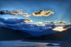 Rimrock See-Sonnenuntergang Stockbild