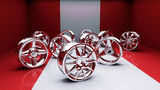 Rims red studio. Car discs in the red studio. Chrome-plated rims. Car drives in the room. Chrome wheels set Royalty Free Stock Photo