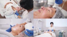 4 in 1 - rimuovere le grinze sul fronte e sul collo con il massaggio stock footage
