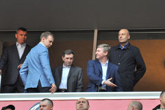 Rinat Akhmetov shows the place in the VIP box Stock Photos