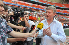 Rinat Akhmetov speaks to reporters Stock Images