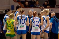 Rinat Gilyazutdinov, coach with team Dynamo(KZN). MOSCOW, RUSSIA - APRIL 12: R. Gilyazutdinov, coach with team Dynamo(KZN) on timeout on women's Rissian Stock Photography