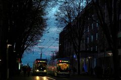 Rincipal street in Zurich center with two trams in typical blue color passing past each other.