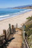 Rincon Park Beach Access. Stairs leading down to the beach and Pacific ocean near Santa Barbara, California. A coastal scene photographed at Rincon Park Royalty Free Stock Photo