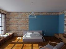 Rinda de cama en el dormitorio con las paredes de ladrillo, estilo del desván Fotos de archivo