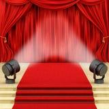 Rinda de cortinas rojas Imagenes de archivo